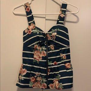 Floral stripe print peplum sleeveless top